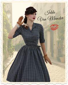 Robe swing années 50, imprimée tartan gris bleuté/ noir/beige; Collaboration Idda Van Munster & Miss candyfloss en édition limitée chez missretrochic.com