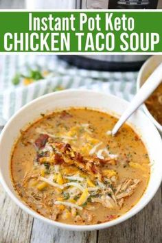Thick creamy and loaded with shreds of chicken this Keto Chicken Taco Soup is an easy quick recipe that can be made in the Instant Pot or Crock-pot keto soup recipe keto instant pot recipe low carb soup recipe keto chicken recipes keto lowcarb Low Carb Soup Recipes, Crock Pot Recipes, Quick Recipes, Quick Easy Meals, Cooker Recipes, Healthy Recipes, Keto Recipes, Low Carb Taco Soup, Sausage Recipes
