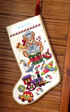 Cross Stitched Christmas Stocking by STUFF2SHARE on Etsy, $125.00