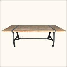 1F. Industrial Reclaimed Wood and Wrought Iron Dining Table