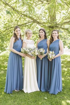 Images by Matt Ethan - Johanna Hehir Mae Lace Wedding Dress | Cornflower Blue Alfred Angelo Bridesmaid Dresses | Rustic Reception | DIY Decor | Matt Ethan Photography | http://www.rockmywedding.co.uk/katie-matt/