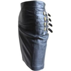 Preowned Iconic Gianni Versace Bondage Leather Skirt ($3,200) ❤ liked on Polyvore featuring skirts, multiple, black knee length skirt, straight skirt, black skirt, versace and leather skirt