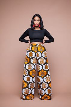 Feel awesome wearing Grass-fields African print pants, made from brilliant African fabric sourced from Cameroon. African Fashion Ankara, Ghanaian Fashion, African Inspired Fashion, African Print Fashion, Africa Fashion, African Dresses For Women, African Attire, African Wear, African Women