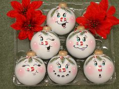 Handpainted Snowman Ornaments by simplysweetgifts on Etsy, $16.99