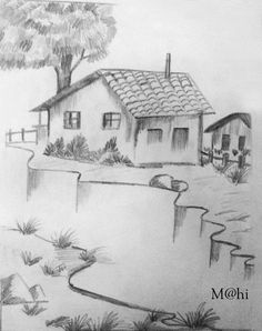 Black Pen Source by emineule. Landscape Pencil Drawings, Pencil Sketch Drawing, Landscape Sketch, Pencil Art Drawings, Drawing Drawing, Drawing Ideas, Dark Art Drawings, Art Drawings Sketches Simple, Easy Drawings