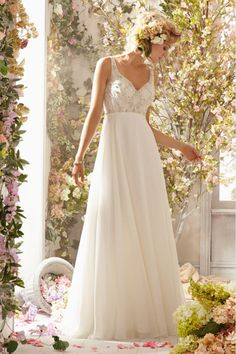 2014 V Neck Beaded Bodice Low Back Wedding Dress A Line With Long Chiffon Skirt USD 149.99 BAPPR12CNC - BallProm.com
