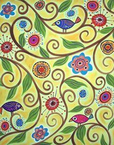 Bellissime e coloratissime queste tele dipinte ad acrilico da Karla Gerard, artista statunitense di Waterville.Patterns e motivi folk, allegri e molto naif, che potete ammirare nella galleria di Karla su Flickr.http://www.