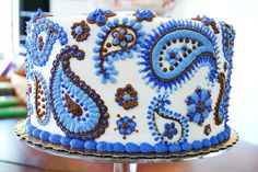 Blue and Brown Paisley cake decor from Cakes By Request ::