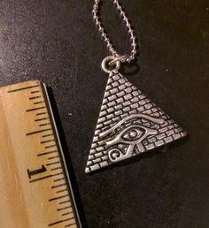 Necklace, Ra, Eye of Horus, Pyramid, Mystical, Egyptian, Protection, Power, Good Health, Nature, Vintage, Boho, Hippie, Retro, Unisex, Charm by KudzuCatCreations on Etsy
