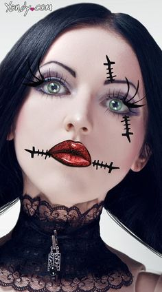 2014 frightful stitch rag doll face makeup for Halloween >> L<3VE the makeup idea! ... #Inspiration