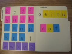 making words - she uses sticky notes, but I bet it would work well too if you did velcro and would last longer