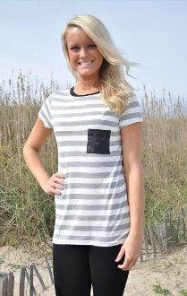 Gray Stripe Tee with Leather Pocket