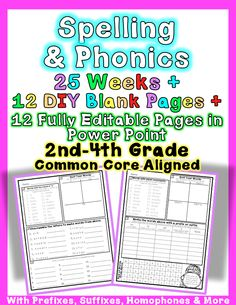 This unit is filled with word study fun! Aligned to Common Core Foundational Skills for 2nd, 3rd, and 4th Grades. Activities vary per sheet: * Word sorts (23/25 have a word sort) * Building words with prefixes and suffixes * Word searches * Paragraph writing * Unscramble letters * Sentence fill-in #2nd Grade RF.2.3b, RF.2.3c, RF.2.3d, RF.2.3e, RF.2.3f #3rd Grade RF.3.3a, RF.3.3b, RF.3.3c, RF.3.3d #4th Grade RF.4.3a #Second #Third #Fourth