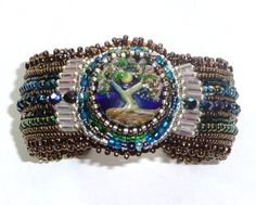 Bead Cuff Bracelet Bead Embroidery Lampwork Crystals  by carabeads, $135.00