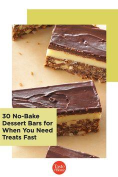 No oven? No problem. Try our no-bake bar recipes. Summer Desserts, No Bake Desserts, Bar Recipes, Dessert Recipes, Chocolate Squares, Cereal Bars, No Bake Bars, Dessert Bars, Oven