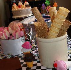 For dessert, display an ice cream bar.