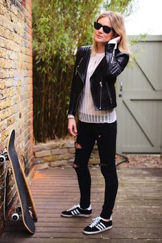 #beauty #style #fashion #woman #clothes #outfit #wearable #winter #fall #autumn #lace #white #blouse #black #leather #jacket #skinny #ripped #pants #adidas #trainers
