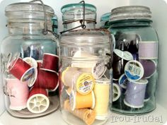 pretty organization for the craft room Mason Jar Storage, Mason Jars, Craft Storage, Storage Ideas, Fabric Display, Quilting Projects, Sewing Projects, Room Organization, Getting Organized