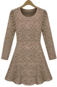 Khaki Round Neck Long Sleeve Lace Dress pictures