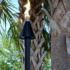 Big Kahuna Black Cone Propane / Natural Gas Tiki Torch - Permanent Mount | Tiki Torch Lights, Garden Torches & Patio Torches