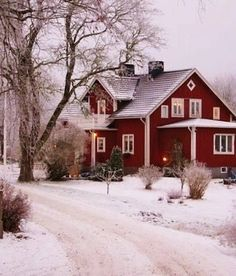 Pretty red house this is so inviting on a snowy day with a warm fire going and candles in every window. Winter cottage please! Beautiful Homes, Beautiful Places, House Beautiful, Peaceful Places, Red Houses, Farm Houses, Winter Scenery, My Dream Home, Dream Homes