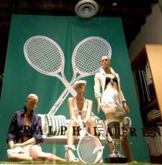 Oversized props and the right choice of mannequins make this an eye catching window display Window Display Design, Store Window Displays, Tennis Shop, Mannequin For Sale, Clothing Displays, Windows, Athletic Outfits, Trends, Retail Design