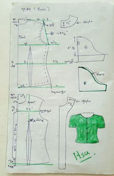 Basic ရင္ေစ့ Easy Sewing Patterns, Clothing Patterns, Dress Patterns, Sewing Collars, Sewing Projects, Sewing Hacks, Sewing Blouses, Diy Tops, Designer Blouse Patterns