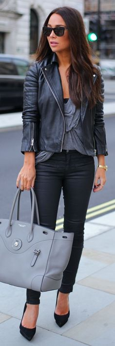 Black Quilted Detail Leather Moto Jacket