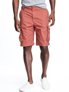 """Old Navy Button closure and zip fly. Slant pockets and button flap cargo pockets in front; patch pockets in back. Soft, medium weight twill. Tag free, lined waistband for added comfort Sits below waist. Easy thigh. 10 3/4"""" inseam. Shorts hit above knee."""