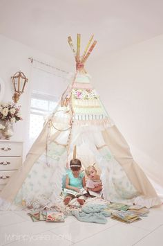Large magical teepee in girl nursery Girl Nursery, Girls Bedroom, Deco Kids, Ideias Diy, Girl Decor, Little Girl Rooms, Reading Nook, Kid Spaces, Kids Playing
