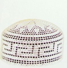 White crochet prayer cap (taqiyah)