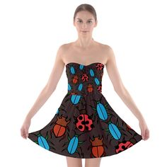 Beetles+And+Ladybug+Pattern+Bug+Lover++Strapless+Dresses+Strapless+Bra+Top+Dress