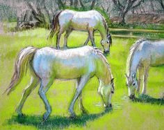 White Horses Grazing Painting  - Fine Art Print of a pastel by Sue Halstenberg