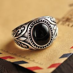 Real 925 Sterling Silver Jewelry Vintage Rings For Men Engraved Flowers With Black Onxy Red Garnet Natural Stone Ruby Jewellery-in Rings from Jewelry & Accessories on Aliexpress.com | Alibaba Group