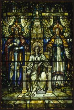 Frederick Stymetz Lamb. Religion Enthroned. Stained glass window, . Brooklyn Museum, Gift of Irving T. Bush in memory of his father and mother, 29.1082. Creative Commons-BY-NC.[1]