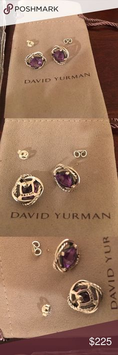 David Yurman Amethyst infinity earrings Authentic David Yurman 925 Amethyst infinity earrings come with DY pouch and cloth also included DY earring backs. David Yurman Jewelry Earrings