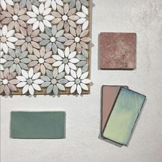 Ocean & Merchant's Daisy Mosaic in Ming Green, Pink and Thassos, Travertine Rosso, Moon in Pink and Mystic, and Jade Pink Tiles, Concept Board, Travertine, Paddle, Wall Tiles, Mosaics, Bathrooms, Daisy, Boards