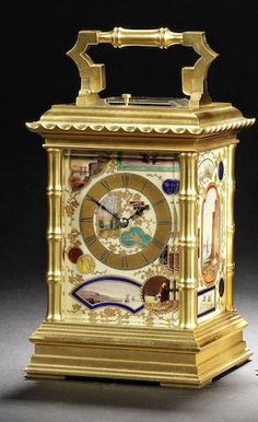 A rare late 19th century French porcelain mounted pagoda pattern carriage clock