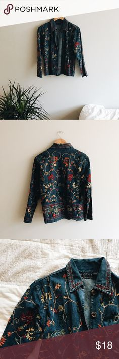 vintage embroidered denim jacket + denim jacket embroidered with colorful floral detail  + medium/dark wash denim  + 100% cottton  + perfect for layering , fitted but not tight + will fit an xs-med depending on desired fit  thrifted // vintage  leave any questions in the comments    Closet policies  XX No trades XX No PayPal Bundles =5% Discounts Vintage Jackets & Coats Jean Jackets