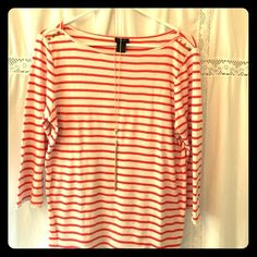 Ann Taylor casual t-shirt Orange and white stripped with gold details on shoulders. 3/4 sleeve. Size large. Ann Taylor Tops Tees - Long Sleeve