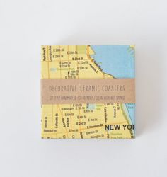 Maya Gencic / New York City Coasters Ceramic Tile Map Coasters Blue and Yellow Drink Coasters