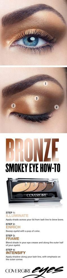Try this step-by-step tutorial for a golden bronze smokey eye, featuring COVERGIRL Eyeshadow Quads in Go for the Golds. The COVERGIRL Eyeshadow Quads palette makes it easy, with numbered steps to help you get the gorgeous looks you want. Perfect for any occasion when youd like to try something other than a standard black smokey eye.
