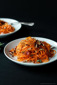 Homemade Sweet Potato Noodles, Brown Butter Sauce, and Pecans... what more could you ask for? | www.joyfulhealthyeats.com