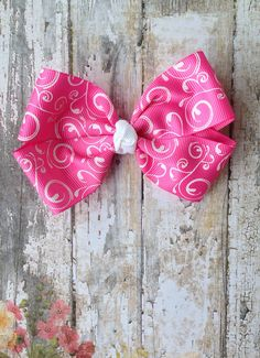 Hot Pink Bow Simple Classic Hot Pink and White Bow by CuteZTies