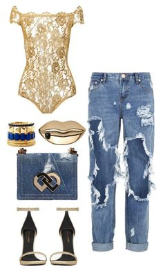 golden denim by minkstyles on Polyvore featuring polyvore, fashion, style, Yves Saint Laurent, One Teaspoon, Dsquared2, Charlotte Russe, STELLA McCARTNEY, women's clothing, women's fashion, women, female, woman, misses and juniors Chanel lipstick Giveaway