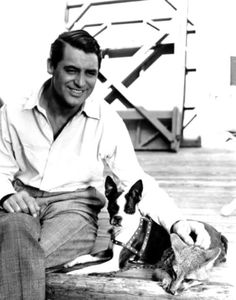 """When You're In Love"" ~ 1937.  Cary Grant with trained movie Boston terrier ""Squeezit"" between scenes while filming the movie."