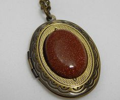 Antique Style Brass Locket with Gold Stone by PebblesnPaint