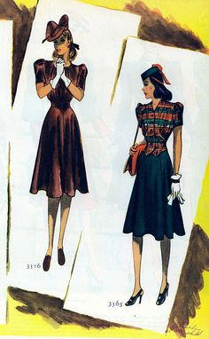 Two beautiful summer/fall perfect looks from 1939. #vintage #1930s #1940s #fashion