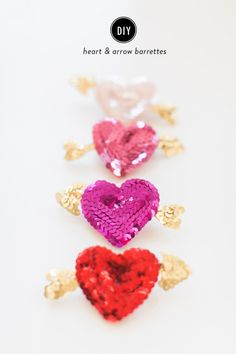 Sequin heart and arrow barrettes: http://www.stylemepretty.com/living/2015/02/11/diy-heart-arrow-barrettes/ | Photography: Ruth Eileen - http://rutheileenphotography.com/
