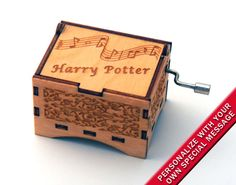 "Music Box ""Harry Potter Theme"" Laser Engraved Wooden Interlocking Hand Crank Music Box"